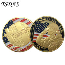 Military CIMETIERE AMERICAIN 24K Gold Plated Coin 40*3MM, Metal Challenge Coin For Souvenir American Coins(China)