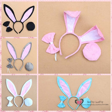 Free shipping 1 set of Bunny Girls Head Hoop Ribbon Tail Costume Party Cosplay Supply Makeup Funny Prank joke toys Kids Gifts