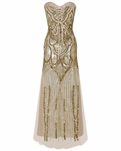 Glitter Woman 1950s Great Gatsby Dress Retro Art Deco Sequin Mermaid Party Long Gold Dress Robe Femme Bodycon Dress(China)