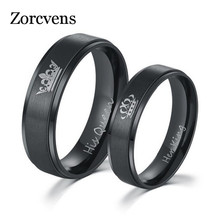 ZORCVENS Fashion DIY Her King and His Queen Stainless Steel Wedding Rings for Women Men(China)