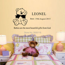 Personalized Kids Name Vinyl Quotes Sticker Cute Teddy Bear Birth Date Wall Decal for Kids Children Room