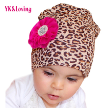 Leopard Baby Girl Caps With Flowers 2016 Fashion Spring Fall Thin 100% Cotton Lace Flower For 0-1Year Newborn Infant Baby Hats(China)