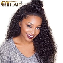 QThair Mongolian Kinky Curly Hair Bundles 100% Curly Weave Human Hair Natural Black Color 1b 8-28inch Non-remy Hair