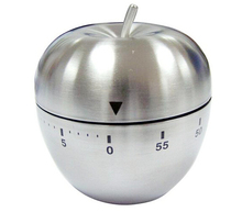 Apple Shape Stainless Steel 60 Minutes Mechanical Kitchen Cooking Timer Alarm Clock  Cute  Stainless Steel  Kitchen  Timer