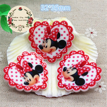 10pcs Kawaii Minnie Mouse Planar Resin Heart Flatback Embellishment Accessory DIY Craft Scrapbooking,32*35mm