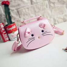 Children Mini Cute Candy Color handbags Kids Messenger Bags PU Party crossbody bag For Baby Inclined shoulder bag Girl  handbag