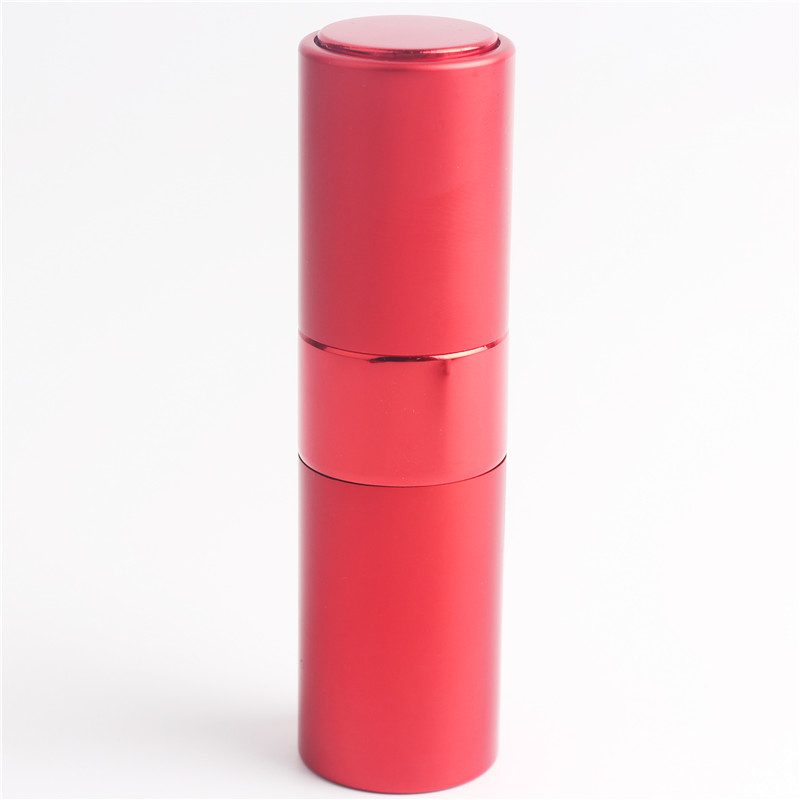 1* 15ML Empty Sample Lipstick Shape Glass Perfume Bottle 8ML Rotary Type spray Aluminum Cosmetic Packaging Parfum Bottle(China)