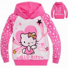 2016 Fashion Spring Autumn Hello kitty Cartoon Children Kids Hoodies Girls Outerwear Baby Long Sleeve Sweatshirts