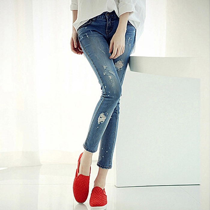 2015 autumn and winter girls hole stretch jeans female beggar pants Slim was thin  feet pantsОдежда и ак�е��уары<br><br><br>Aliexpress
