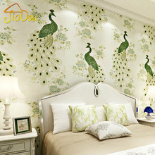 Southeast Asian Style Peacock 3D Non-woven Wallpaper Embroidery Chinese Style Floral Bird Papel De Parede Living Room Wallpaper