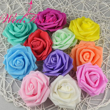 Free Shipping 100pcs 7cm High Quality Handmade Artificial Foam Rose Flower Heads For Wedding Decoration Kissing Ball