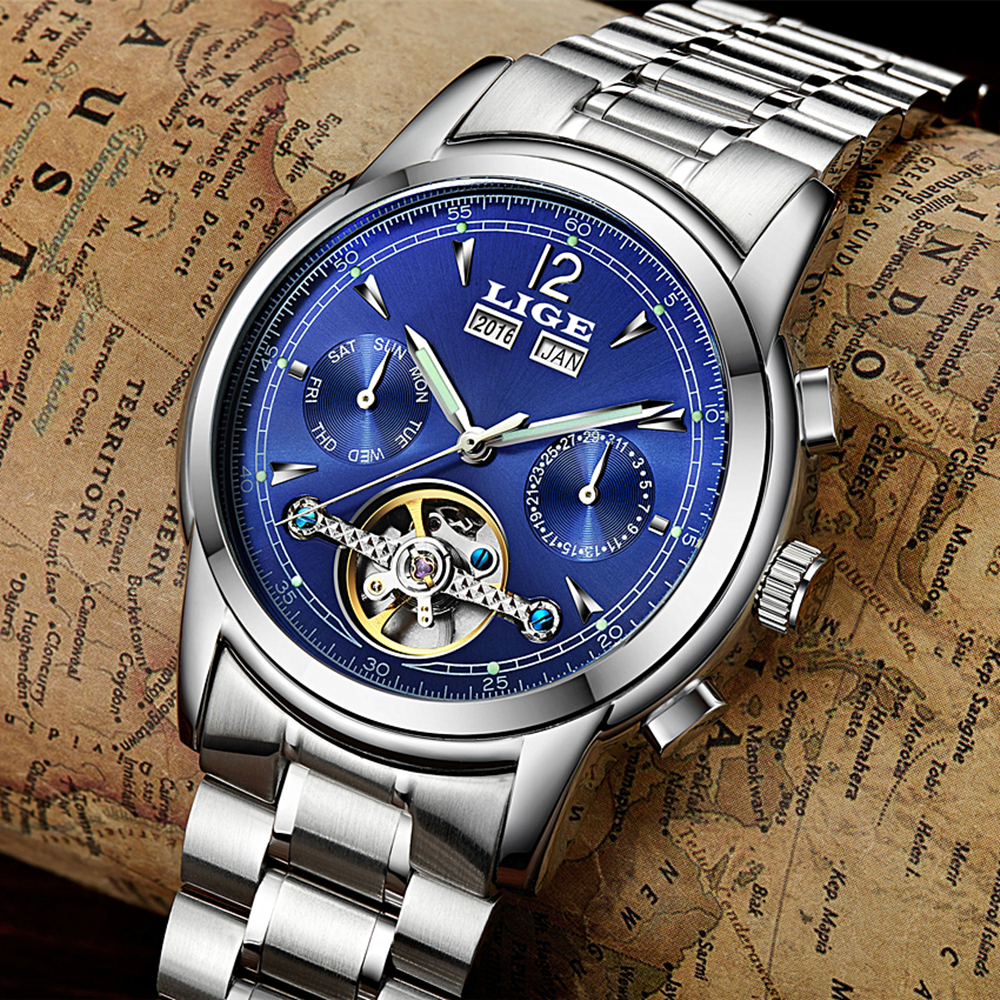 Relojes Hombre LIGE Luxury Brand Mens Automatic mechanical Watches Men Casual fashion business Clock Watch men Relogio Masculino<br>