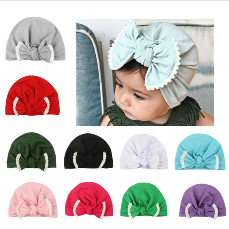 Newborn Baby Infant Girl gown clothes  Comfy Bow knot Hospital Beanie Hat SET