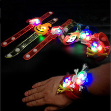 New 2017 Glow Pumpkin Ghost Wristband Flashing LED Bracelet Kids Lighting Toys Gift Halloween Party Decoration Favor