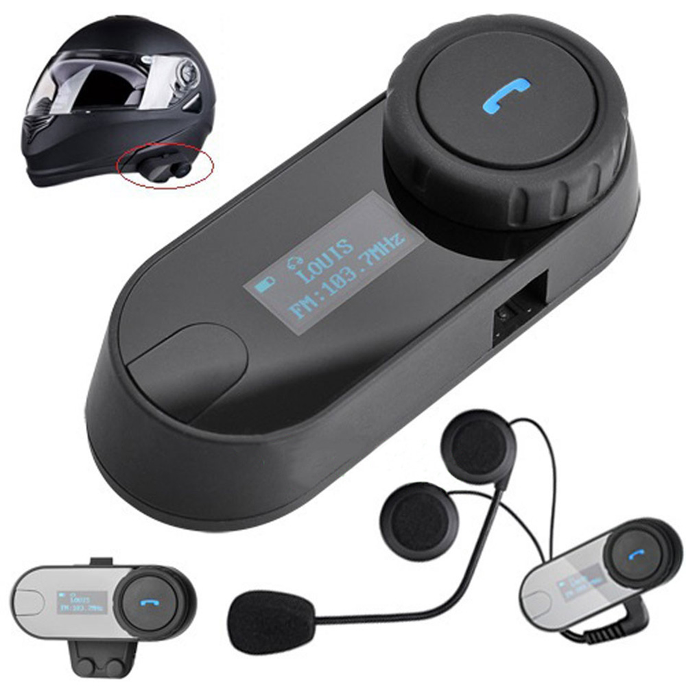 1 pcs 2017 Updated TCOM-SC BT Bluetooth Motorcycle Helmet Intercom Interphone Headset with LCD screen + FM Radio(China)