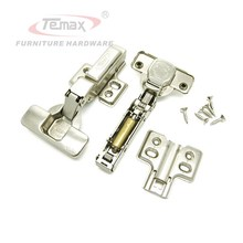 Half Overlay Soft Close Furniture Hardware Cabinet Hydraulic Buffering Hinge Kitchen Door Hinges Clip on Base Brass Buffer(China)