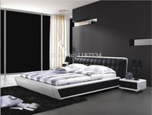 Bedroom furniture king size large soft bed leather comfortable bed C398(China)