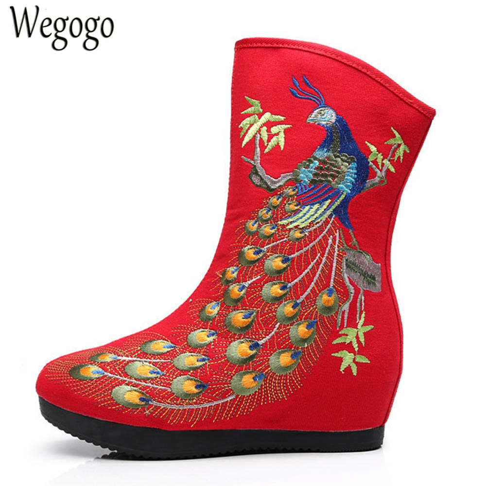 Winter Women Boots Old Beijing Ethnic Retro Phoenix Embroidered Booties Vintage Botas Mujer High Quality Warm Zipper Shoes Woman<br>