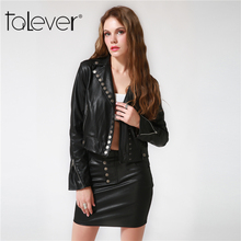 2017 Fashion New Women's Faux Leather Jacket Black Button Turn-down Collar Coat Autumn Winter Casual Female Slim Outerwear Coat(China)