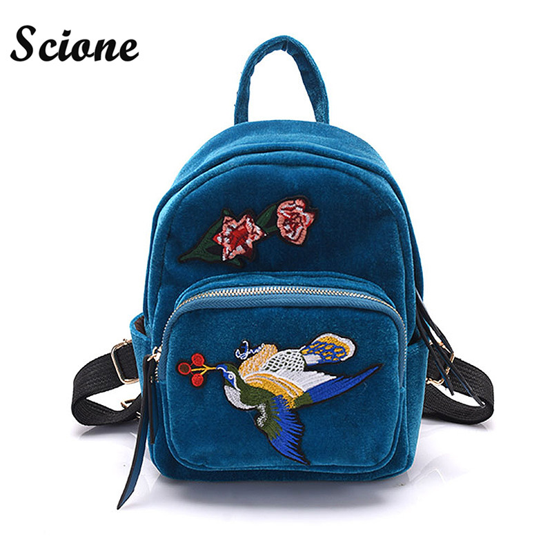 Harajuku Backpack Birds Embroidery Backpacks Women Bag Cute Mini Velvet Backpack 2017 Luxury Ethnic Wind Fashion Travel Mochila<br><br>Aliexpress