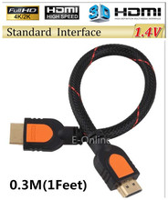 HDMI Cable 1.4V Male to Male Short HDMI Cable Adapter 3D for PS3 Projector HD LCD TV Computer 0.3M/0.5M/1.5M/3M/5M/10M/15M/20M