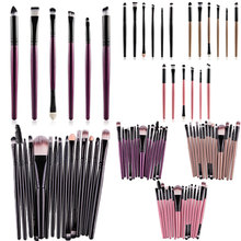 6/15 Pcs Cosmetic Makeup Brush Women Foundation Eyeshadow Eyeliner Lip Make Up Eye Brushes Set YF2017(China)