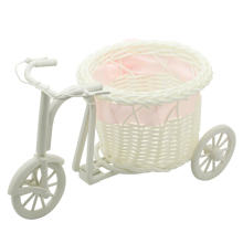 Cute 1Piece pink Bike Rattan Vase Basket Flowers Meters Bowknot Flower Vase Flowerpots Containers