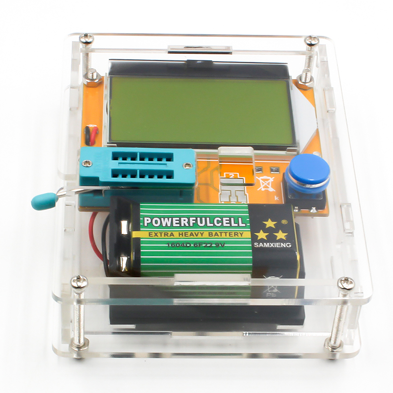 16 Latest LCR-T4 ESR Meter Transistor Tester Diode Triode Capacitance Mos Mega328 Transistor Tester + CASE (not Battery ) 3