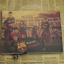 Football poster decoration painting hanging picture Barcelona star club kraft paper bar sports decorative painting