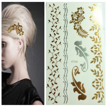 Gold Flash Metallic Temporary Tattoo Shinny Golden Hair Tattoos Luxury Women Make up Hair Decoration Stickers Body Painting