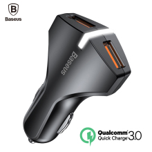Baseus Quick Charge 3.0 Car Charger 5V3A QC3.0 Turbo Fast Charging Car-charger Dual USB Car Mobile Phone Charger For iPhone 8 7(China)