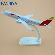 16cm Metal Spain Air IBERIA A330 Airlines Airbus 330 Airways Plane Model Airplane Model w Stand Aircraft(China)