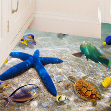 1X 3D dimensional Starfish beach waterproof floor stickers ground bathroom Stickers Background Wall Swimming pool Wall Sticker