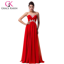 Grace Karin Bridesmaid Dresses Red Yellow Blue Strapless Beaded Long Chiffon Bridesmaid Dress Wedding Party Prom Gowns Clearance