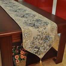 Luxury Embroidery Table Runner European Table Runners TV Cabinet Table Runners for Wedding Bed Runner Blue Red(China)