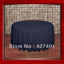 "Hot Sale 132"" R Navy Round Table Cloth Polyester Plain Table Cover for Wedding Events &Party Decoration(Supplier)(China)"