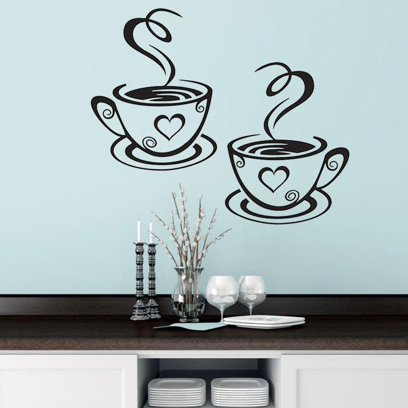 Double Coffee Cups Wall Stickers Beautiful Design tea Cups Room Decoration Vinyl Art Wall Decals Adhesive Stickers Kitchen Decor(China)