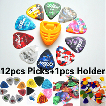 12Pcs Guitar Picks+1pcs Picks Holder Acoustic Electric Guitar Plectrum Guitar Accessories different designs and thickness GYH(China)