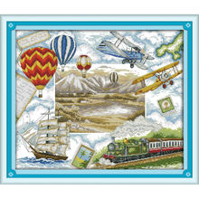 Joy Sunday DIY Needlework Cross Stitch Kits printed canvas set embroidery Travel round the world The plane ship train balloon