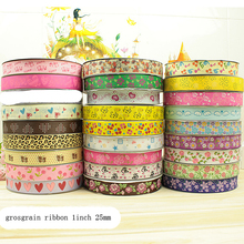 "1"" 25mm printed grosgrain ribbon gift packing wedding decoration 30yards lot mix patterns accepted(China)"
