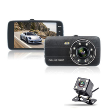 4.0 Inch IPS Screen Car DVR Car Camera with 8 LED light Full HD 1080P Video 170 Degree Dash Cam Dual Lens Reversing video camera