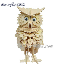 Abbyfrank Owl Woodcraft Model 3D Puzzles Wooden Puzzles DIY Toy Woodcraft Handmade Toy Learning Educationa Toys For Children(China)