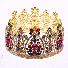 2017 Direct Selling Quinceanera Fine Women Tiaras Full Crowns Rhinestone Big Porta Coque Byzantine Quinceanera  For Wedding
