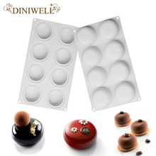 DINIWELL Bakeware Baking Pastry Mould 8 Cavity Oblate Design Silicone Mold For Soap Jello Bath Bombs Pudding Ice Cream Cake
