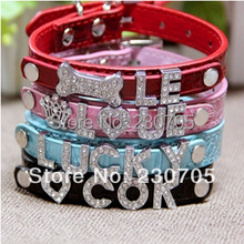 (5color XS/S/M/L ) Bling Personalized Dog Pet Puppy Collars Rhinestone Name Charms DIY Name Collar Pet Products Free Shipping