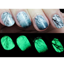 14pcs Luminous Nail Wraps Glow in Dark Nail Sticker Retro-style Bridge Cocoanut Tree Pattern Nail Art Stickers #9844