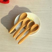 Mini Wooden Honey Spoons For Kids Kitchen Using Condiment Salt Sugar Spoon 9.2*2.0cm Cucharas Colheres ZT(China)