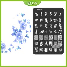 10PCs/set BQAN Stainless Steel  Free Shipping Unique Cherry Pendant Patterns Nail Plate Stamping Kit MLS12