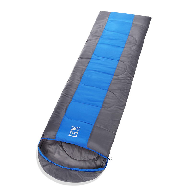 190T polyester pongee splice single sac de couchage outdoor thicken sleeping bags for cold weather<br>