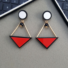 Doreen Box Hot 3D Triangle Stud Earrings New Women Fashion Acrylic Red Black Girls Trend Earrings Gold Color Jewelry, 1 Pair(China)